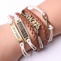 Rope Bracelet Brown and White  LOVE BELIEVE DREAM Bracelet