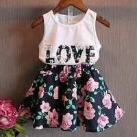 2016 2PCS Kids Baby Girls Toddler T shirt Tank Tops and Skirt Dress Set Outfits Clothes-in Clothing Sets from Mother & Kids on Aliexpress.com | Alibaba Group