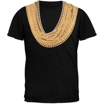 Chenier Gold Chains Black Adult T-Shirt