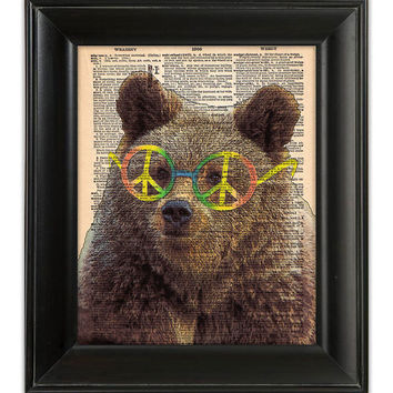 PEACE the Brown Hippie Bear Art Print Poster by PatricianPrints