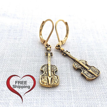 Violin Earring, Orchestra Music Lover Gifts, Classical Music Instrument Jewelry, Gold Leverback, Musical, 620