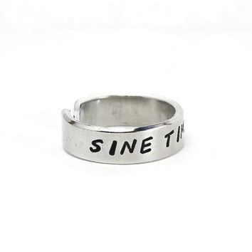 """Sine Timore Ring, Latin Words """"Without Fear"""" Ring, Aphorism Ring, Personalized Hand Stamped Aluminum Ring"""