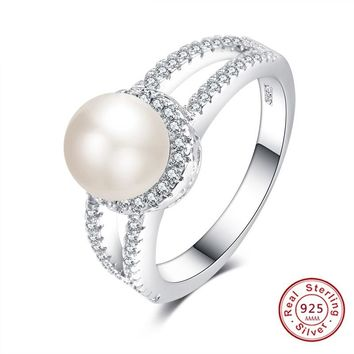 Luxury 925 Sterling silver jewelry Created White Pearl Rings for Women Elegant Wedding Zircon Mujeres Anillos Mother's Day gift