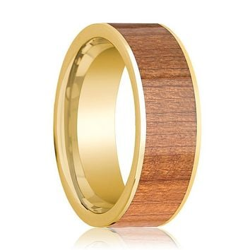 Mens Wedding Band 14k Yellow Gold Flat Wedding Ring with Sapele Wood Inlay Polished - 8mm