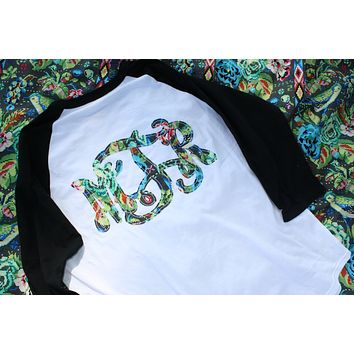 PICK YOUR FABRIC Monogrammed Baseball Tee