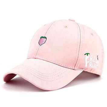 ICIKHY9 2016 New Arrival Spring Leisure Fresh Fruit Embroidery Hat Strawberry Banana Cherry Orange Peach Baseball Cap For Women