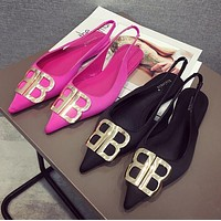 Balenciaga Fashion Women Casual Metal BB Buckle Flats Pointed Shoes Single Shoes(2-Color) I13718-1