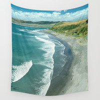 Raglan beach, New Zealand Wall Tapestry by Bruce Stanfield