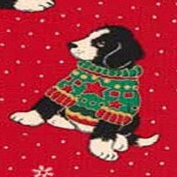 Mountain Pups Holiday Winter Sweaters Dog Fabric - Winter Black & White Cranberry Christmas Red CIJ Snowflakes FQ