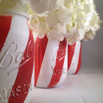 3 Painted candy cane stripe distressed mason jars for Christmas decor, centerpiece, holiday decor, housewares, home decor, Christmas favors