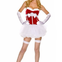 Red and White Strapless Tutu Dress