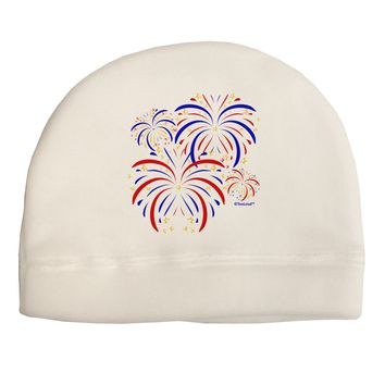 Patriotic Fireworks with Bursting Stars Child Fleece Beanie Cap Hat by TooLoud