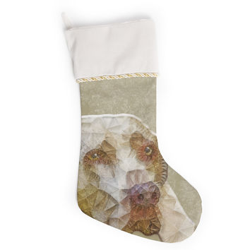 "Ancello ""Abstract Dog"" Brown Geometric Christmas Stocking"