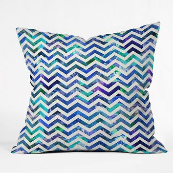 Bianca Green Floral Chevron Aqua Throw Pillow
