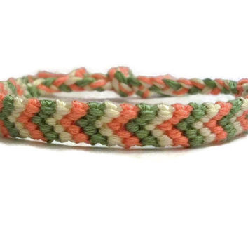 Peach, Green and Off White Chevron Pattern Embroidery Macrame Friendship Bracelet