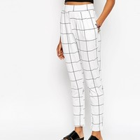 ASOS Peg Trousers in Mono Check