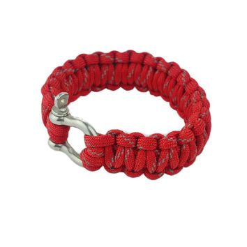 O Shape Buckles Paracord Survival Bracelet With Survival Whistle, Red