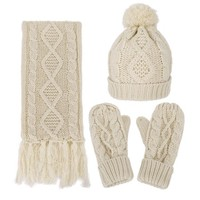 ANDORRA - 3 in 1 - Soft Warm Thick Cable Knitted Beanie Scarf & Gloves Winter Set,beige - Walmart.com
