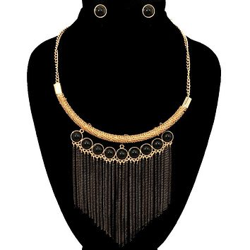 Gold and Black Bead Tassel Necklace Set