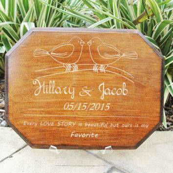 Cute Personalized Carved Last name with Year Established // Anniversary Gift or Wedding Gift