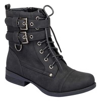 Strappy Round Toe Lace Up Military Combat Boot Vegan Leather Women's