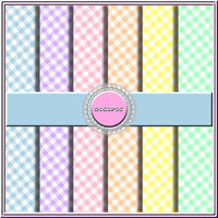 "SALE !! COMMERCIAL Use OK 6 Digital Pastel Diagonal Gingham Scrapbook Papers, 12""x12"" 300Dpi Instant Download"