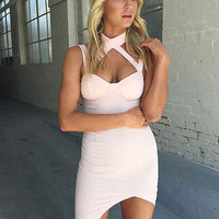 Asymmetric Choker Bandage Dress