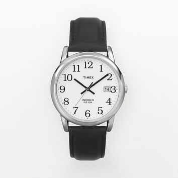 Timex Easy Reader Silver Tone Leather Watch - T2H2819J - Men (Black)