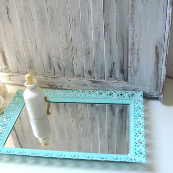 Aqua Filigree Mirror Vanity Tray, Aqua Mint Vintage Vanity Mirror Tray, Beach Cottage Blue Painted Metal Mirror, Beach Chic Perfume Tray