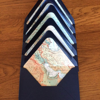 Map Lined Navy Envelopes // Set of 5 // Size A7 Envelopes