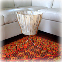 AWESOME BULLET PLANTER Mid Century Modern Retro Vintage 1960s Eames Era Tall Marbled Cream Atomic Gold & Wood Floor Stand / Fabulous