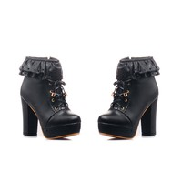 Womens Office Party Sweet Lolita Platform Chunky High Heel PU Lace up Black Boots 9 B (M) US