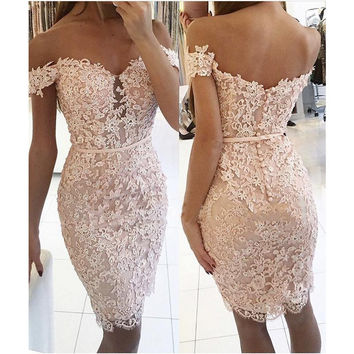 Elegant Homecoming Dresses, Off-the-Shoulder Lace Sheath Homecoming Dress
