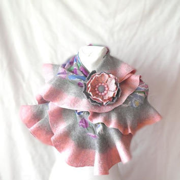Nuno felted scarf   /gifts ideas for women/ Wavy ruffled Shawl /Felt Scarf  for bridesmaid/gray pink floral