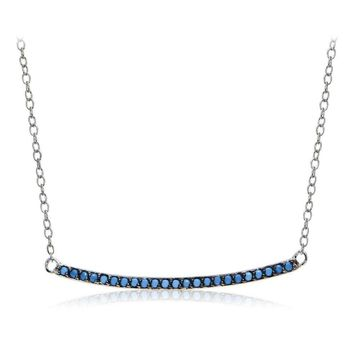 Sterling Silver Nano Simulated Turquoise Bar Necklace