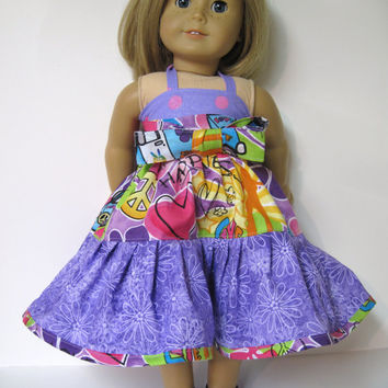 Purple Groovy Twirly Dress for your American Girl Doll