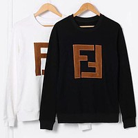 FENDI Popular Women Men Leisure FF Letter Embroidery Long Sleeve Cotton Sweater Pullover Top Sweatshirt Black