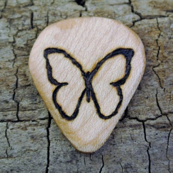 ONE ENGRAVED Wooden Guitar Pick - Butterfly Design or Other Designs Available
