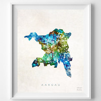 Aargau, Switzerland, Map, Print, Watercolor, Swiss, Europe, Home Town, Poster, Art, Gift, Living Room, Painting, Bedroom, World [NO 1256]