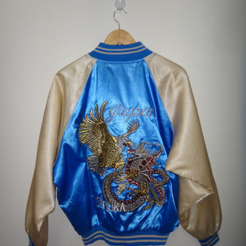 Japanese Japan VINTAGE Yokosuka Eagle Dragon Ryu Battle Gold Blue Sukajan Souvenir Jacket Bomber Silver Gold Dragon Sleeve