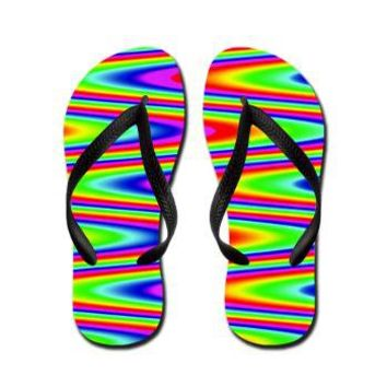 Psychedelic Rainbow Zig Zag Pattern Flip Flops> Rainbow Patterned Gifts> Hippy Gift Shop Funky Hippie Gifts
