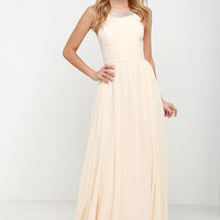 Cheerful Pale Peach Maxi Dress