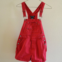 Red Overalls Shortalls Vintage 90s S