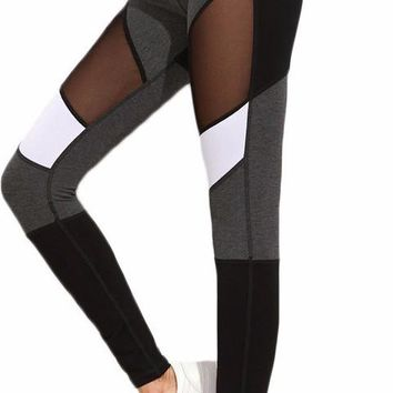 Women's Sexy Spring Fashion -Mesh Color Block Work Out Fitness Stretch Yoga Pants