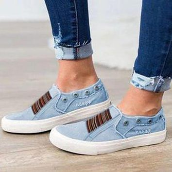 Summer fashion new large size flat bottom elastic washed denim one foot couple single shoes Blue