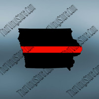 Iowa Back the Red Flag Thin Red Line Vinyl Decal | Yeti Fire Decal | American Flag | Fire Red Lives Matter | Firefighter | 417