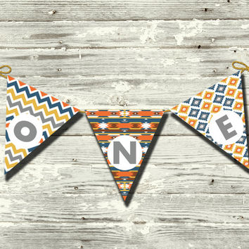 Aztec First Birthday One Navy Blue Yellow Orange Gray DIY Printable Baby Boy Bunting Pennant Banner