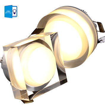[Dbf]Led Crystal Downlight Round/Square 1W 3W 5W 7W Led Ceiling Light 85-265V Recessed Lamp Down For Home Decoration