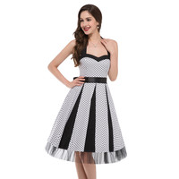 New 2016 Cheap Womens Vintage Pinup Rockabilly Polka Dot Casual Work Short Robe Cocktail Dresses Wiggle Party Dress 6090