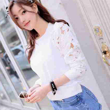 White Floral Lace Cutout Long Sleeve Top